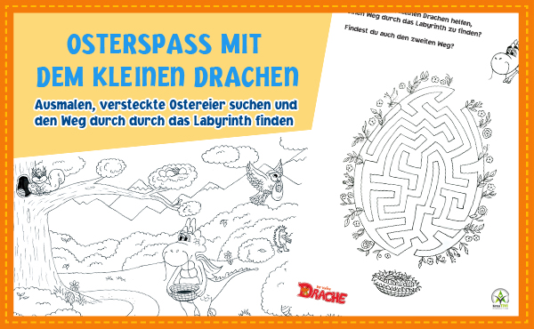Osterspaß mit dem kleinen Drachen: Malbilder und Rätsel kostenlos zum Ausdrucken